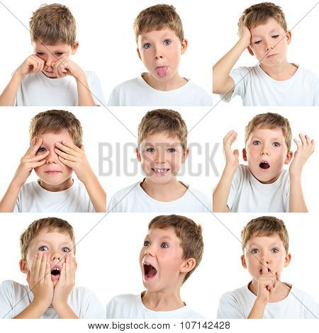 Collage Of Emotional Little Boy On White Background