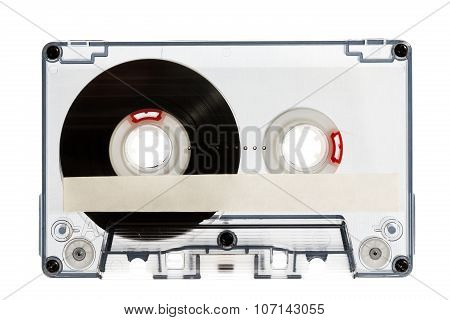 Close Up Of Vintage Audio Cassette Tape, Isolated On White