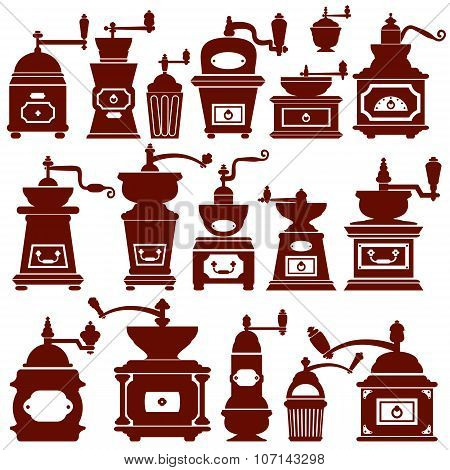 Set With Different Shapes Vintage Coffee Mills Silhouettes. Elements For Cafe Or Restaurant Menu Des