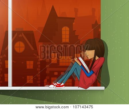 Young Beautiful Girl Read Book