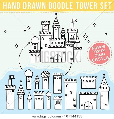 Hand drawn doodle tower set