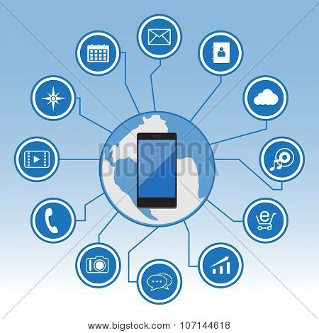 Big Data icon set, Smart Phone with icons