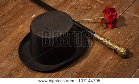 Hat, Cane And Rose