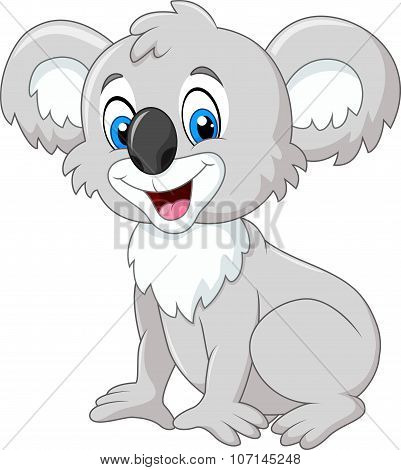 Cartoon adorable koala sitting isolated on white background