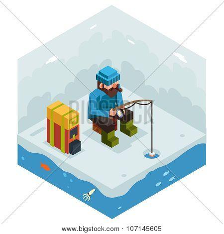 Ice Fishing Winter Activity Vacation Icon Flat Design Isometric 3d Vector Illustration