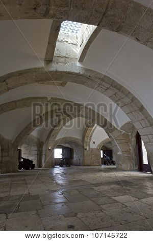 Interior Casemate Of The Main Bastion Of Belem Tower In Lisbon