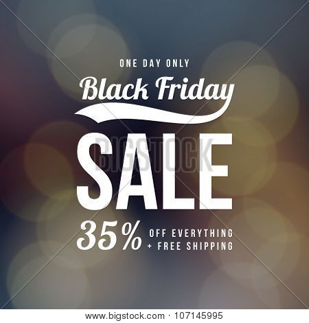 Black Friday sale ad template. Retro style vector design on bokeh background.