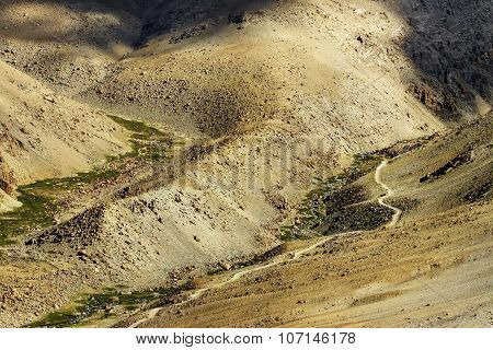 Aerial View Of Himalayan Mountain Landscape, Jammu And Kashmir, Leh, Ladakh, India