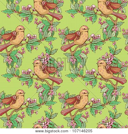 Seamless Pattern With Colorful Birds And Blooming Summer Flowers, Handdrawn Background