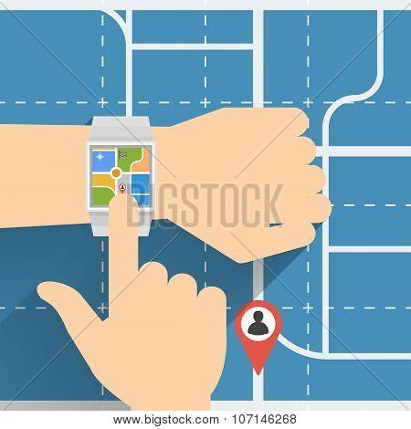 Finger touching Smart Watch for Navigation Vector flat design