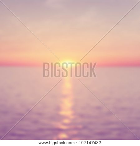 Abstract blurred seascape at sunset.