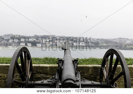 Cannon Pointing Toward The City