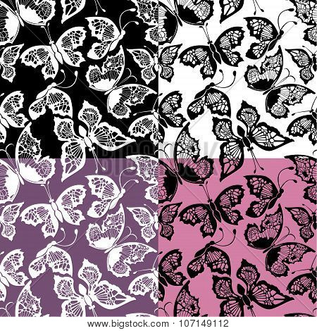 Set Of Seamless Patterns With Silhouette Butterflies On Color, White And Black Backgrounds.