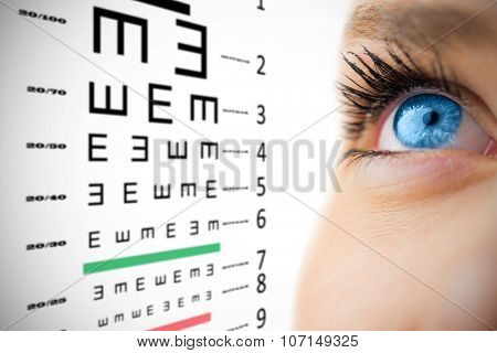Blue eye looking up on female face against eye test