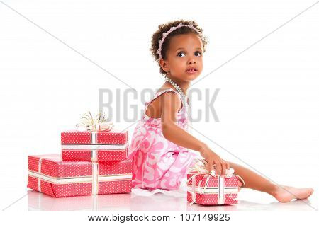 Little Girl With Pink Gift Box. Birthday Present. Shopping. Prize, Win, Event.