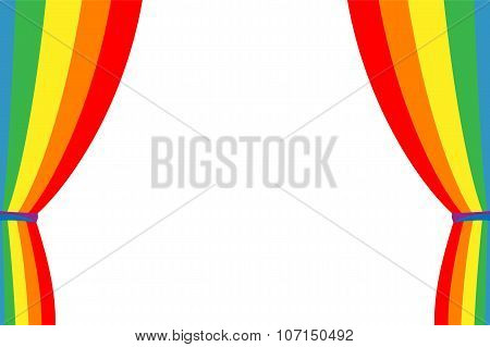Rainbow Curtain Opened On A White Background.