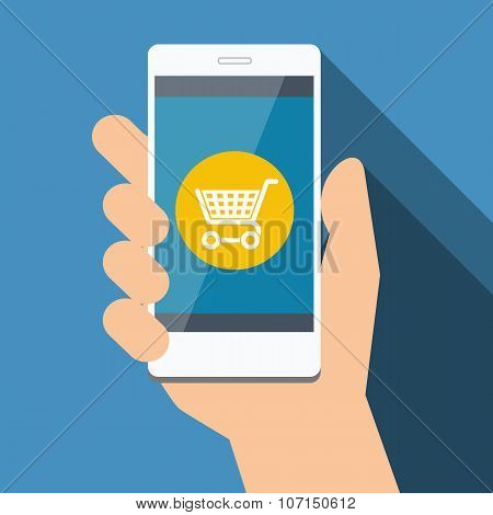 Mobile phone with online shopping. Vector Flat design