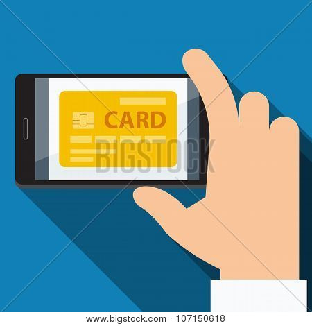 Mobile payments from credit card. Vector Flat design