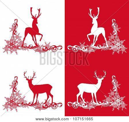 Christmas Deers Set