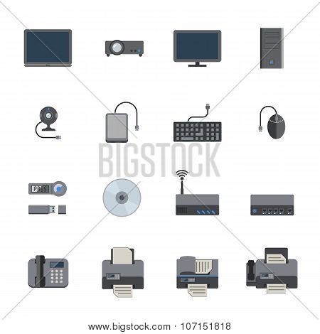 Big Data icon set, Computer and devices