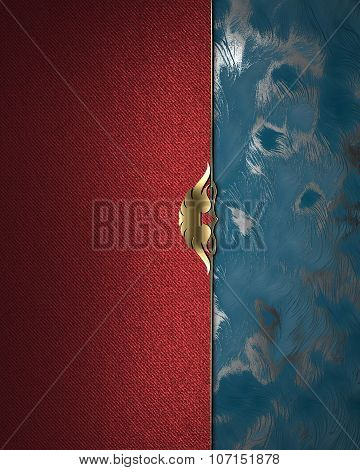 Red And Blue Background With A Gold Ornament. Element For Design. Template For Design. Copy Space Fo