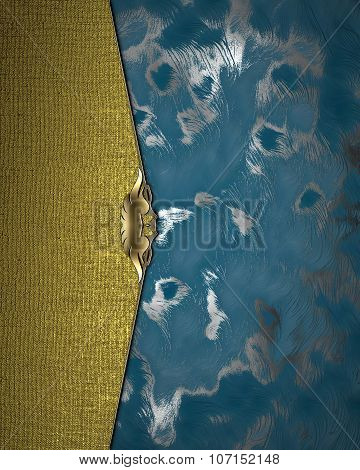 Blue Shabby Background With Gold Plate.. Element For Design. Template For Design. Copy Space For Ad
