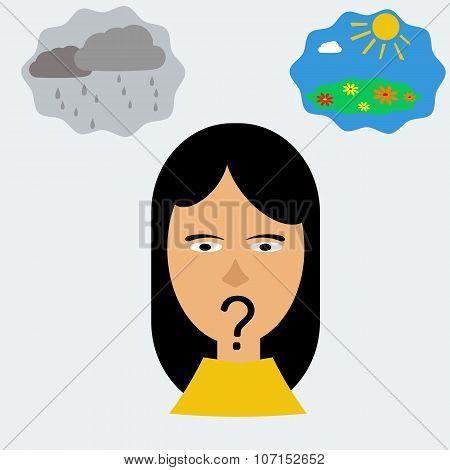 Woman Head In Depression