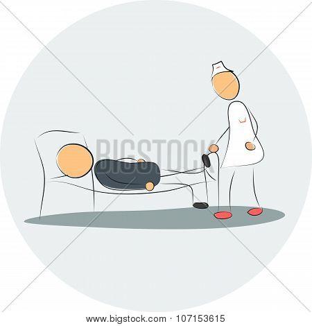 Nurse Near Depressed Man In The Bed Hospital