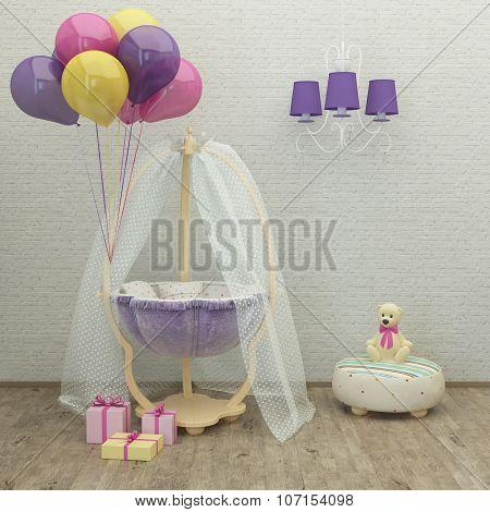 Kids Bed Room Lavender Interior 3D Rendering Image