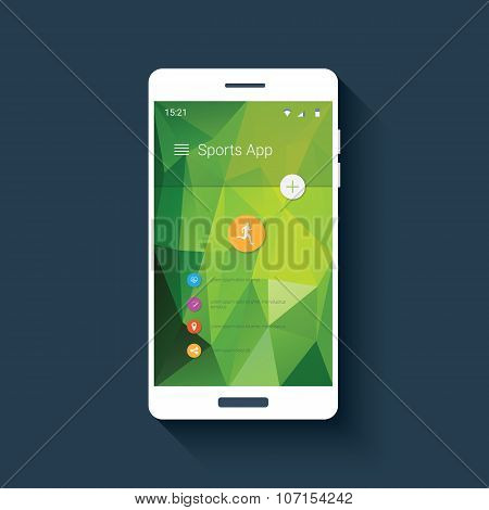 Fitness tracker mobile user interface with icons for sport monitor app. Smartphone gui on green low
