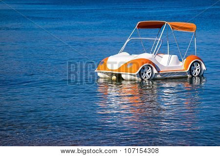 Boat Catamaran As Car Of Natural Color
