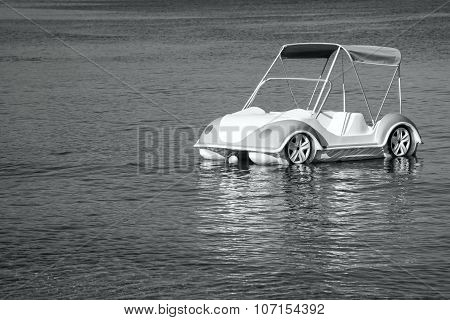 Boat Catamaran As Car Of Monochrome Tone