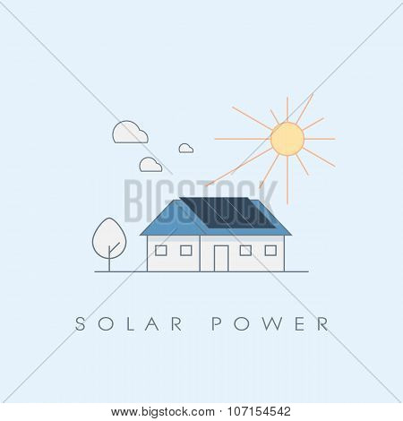 Solar power energy house line icon ecological concept. Photovoltaic panels on roof.