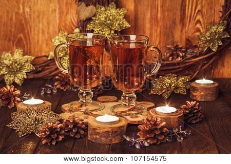 Christmas Table With Two Glass Of Tea