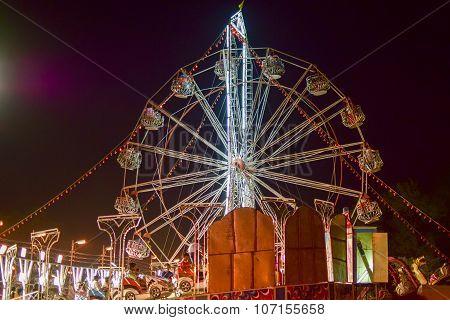 Ferris Wheel At Night, Howrah, West Bengal, India.