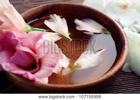 Pink rose and petals in a bowl of water, close-up
