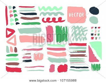 Bright Hand Drawn Textures And Brushes With Ink Colorful. Vector Diy Elements. Isolated Fashion Set.