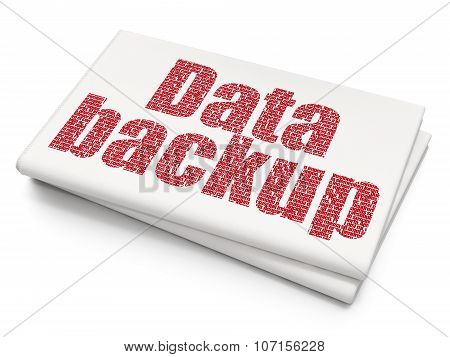 Data concept: Data Backup on Blank Newspaper background