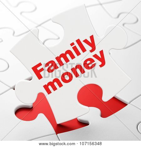 Money concept: Family Money on puzzle background