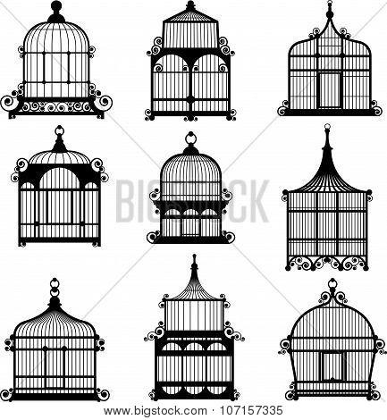 set of 9 vintage birdcages
