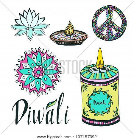 Diwali colorful signs collection. Lotus, rangoli, diya and peace hand drawn symbol