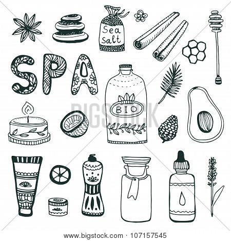 Spa Hand Dawn Collection. Beauty Icon Set. Vector Original Illustration.