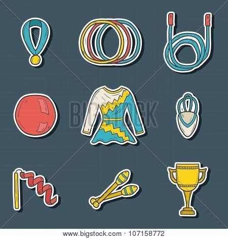 Hand drawn gymnastics stickers
