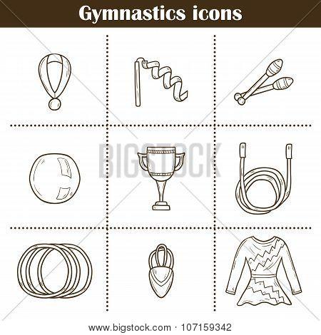 Hand drawn gymnastics icons