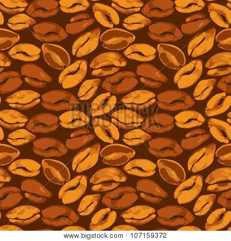 Seamless Pattern With Grunge Aquarelle Coffee Beans. Background Design In Brown Colors For Cafe Or R