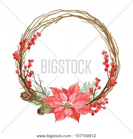 Christmas wreath with flower Poinsettia, dry branches, winter red berries and pine cones.