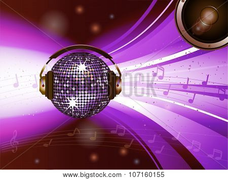 Pink Disco Ball With Headphone And Speaker