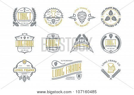 Retro Vintage Beer Labels And Logo Templates. Stock Vector.