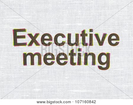 Finance concept: Executive Meeting on fabric texture background