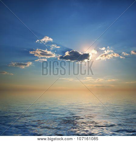 Deep blue sky and calm sea